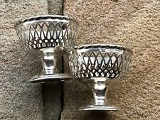 Pair Fretwork Salt Cellars - Dishes - Synyer & Beddoes - Birmingham -1910