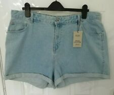❤ DENIM & CO Size 20 Light Blue Denim Mom High Waist Shorts NEW Pockets