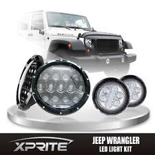 """7"""" 75W CREE LED Headlights DRL & Clear Turn Signal Combo Fits 07-17 Jeep JK"""