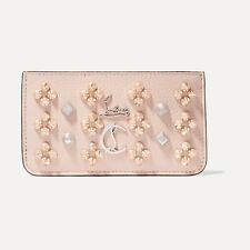 Christian Louboutin W Credilou Spiked Coin Wallet Credit Cardholder Pink $420