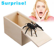 Funny Prank Spider Wooden Scare Box Home Office Joke Gag Kids Adult Toy Fine CA