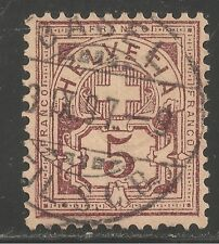 Switzerland #71 (A19) VF USED - 1882 5c Numeral of Value - Town Cancel Basel