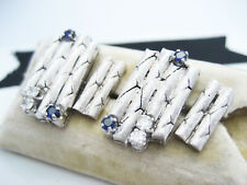 Vintage 750 18K White Gold & Diamond & Sapphire Cufflinks ASSI Beirut Lebanon