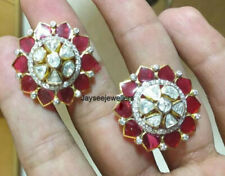 Natural Marga Ruby& Polki Pave Diamond 925 Sterling Silver Anniversary Earrings