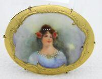 Antique Vintage Gold Tone Hand Painted Porcelain Art Nouveau Lady Brooch Pin