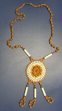 Vintage Southwestern Seed & Bead, Bone Necklace on Leather Gorgeous Colors!
