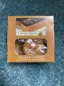 Yankee Candle Salted Caramel Box Of 11 Scented Tea lights Set RARE