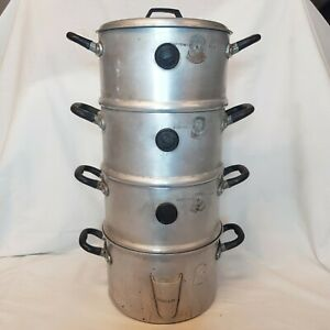 Vintage Steamer Saucepans Aluminium 1950s Steam Cooking BCM Pyramid 28 Pints