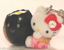 ❤️Sanrio Hello Kitty Black Egg GOTOCHI Netsuke Mascot Charm Phone Strap Japan❤️