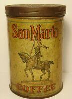 Old Vintage 1930s SAN MARTO GRAPHIC COFFEE TIN ONE POUND TOLEDO OHIO KANSAS CITY