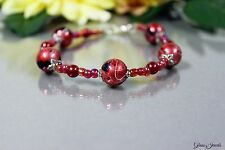 Glass Jewels XXL Silber Armband Perlen Rot Schwarz Länge 23 cm Überlänge #G041