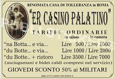 "TARGA VINTAGE CASA DI TOLLERANZA""ER CASINO PALATINO"" IMMAGINE RESTAURATA,BROTHEL"