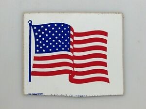 "Vintage 1970's United States Flag Vinyl Glass or Bumper Sticker 4""W x 3-1/4""T"