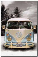 """VW COMBI CAMPER POP ART CANVAS PRINT poster 24"""" x 18"""" - Blue"""