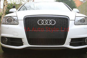 Black honeycomb mesh car grill compatible with Audi A6 2008-2011 C6 4F S6 RS6