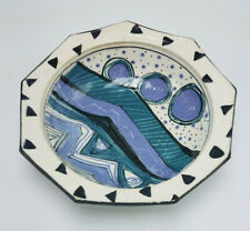 """Cindy Cynthia Jenkins Studio Pottery Ceramic Abstract 9-SIDED Bowl SIGNED 8 1/4"""""""