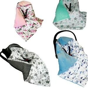 Warm HOODED CAR SEAT PADDED BABY BLANKET *COVER *COSYTOES * PUSHCHAIR * UK stock