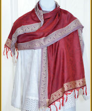 Banaras Silk Red Woven Floral Paisley Design Shawl, Wrap, Stole