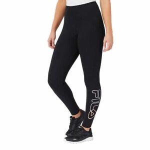 NEW FILA Women's S,M,L,XXL Black Leggings Active Ankle Pants Pastel Logo