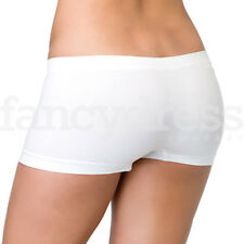 White Boy Short Seamless Boy Shorts Burlesque Panties Hen Night Fancy Dress NEW