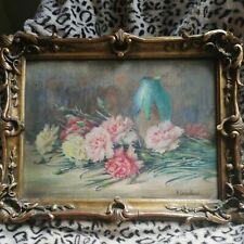 Superbe ancienne aquarelle signée Henriette Leveillard 1850 oeillets 47x36