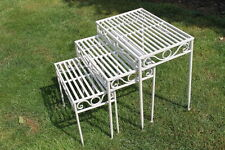 Versailles Set of 3 Metal Side Tables or Plant Stands in Antique White Finish-