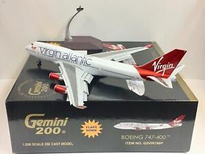 "RARE Gemini Jets 1:200 G2VIR766F Virgin Atlantic B747-400 G-VBIG ""Flaps Down"""