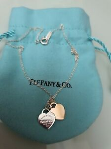 TIFFANY and CO Double Heart tag necklace ruberdo and silver