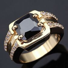 Rare Size 10 Princess Cut Halo Black Sapphire 18K Gold Filled Mens Wedding Ring