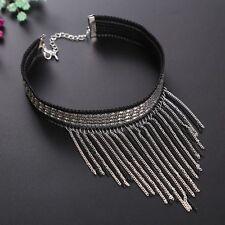 Black Velvet Bib Choker Silver Tassel Collar Necklace