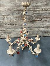 More details for vintage french wrought iron toleware chandalier