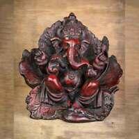 Leaf Wing Ganesh Statue - Red