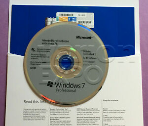 Windows 7 Pro Professional SP1 X32 Bit DVD and Product Key & Laptop