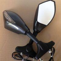 Turn Signal Mirrors For Suzuki Gsxr 1000 Hayabusa Sv650S Rf600R Carbon+Clear