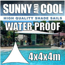 WATERPROOF SHADE SAIL-4Mx4Mx4M TRIANGLE IN CREAM 4x4x4m