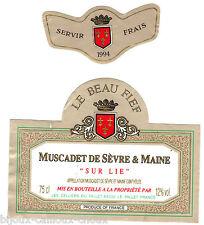 étiquette de vin MUSCADET DE SEVRE ET MAINE sur lie Le Beau Fief 1994 wine label