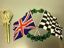 Crossed Union Jack Flag & Chequered & GARLAND sticker