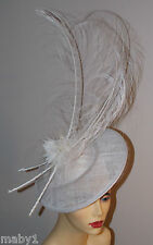 WHITE SAUCER HATINATOR WITH 3 OSTRICH FEATHERS ON BAND MADE TO ORDER NO RETURN