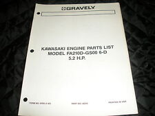 GRAVELY kawasaki engine,fa210d-gs00 6-d 5.2hp  manual/parts list,gravely tractor