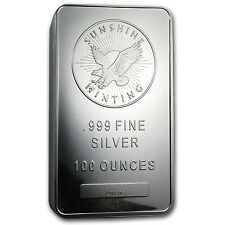 100 oz Sunshine Minting Silver Bar - MintMark SI™ Security Feature - SKU #77282