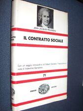 Il contratto sociale J.J. Rousseau Einaudi 1966 MI