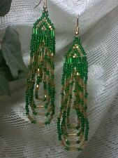 Green and Gold Dangle Seed Bead Earrings Gold Plated Hooks B12-1