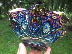 Imperial DIAMOND LACE ANTIQUE CARNIVAL RUFFLED BOWL~ELECTRIC PURPLE~GORGEOUS!