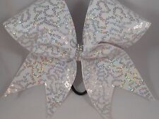 Cheer Bow White w Silver Holographic Sequins sequin by BlingItOnCheerBowz