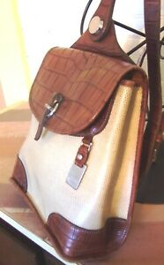 Dooney Bourke Brown Croc Leather and Straw Backpack Bag Purse (62389)