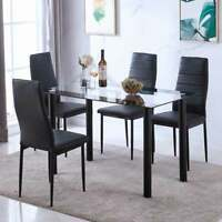 Rectangle Tempered Glass Dining Table and 4 Leather Chairs Set Breakfast Black
