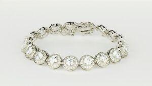 Sterling Silver CZ Tennis Bracelet AAA Halo Round Brilliant Cubic Zirconia Gems