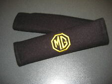Seat Belt Harness Pads in Black with MG Logo in Yellow (MG ZR,MG ZS,MG ZT Logos)