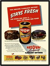 1944 New Metal Sign: Ray O Vac Batteries w/ Prominent Farm Truck & Army Jeep