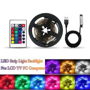 5m USB LED Strip Lights 5050 RGB Colour Changing TV LED Strip + Remote Control